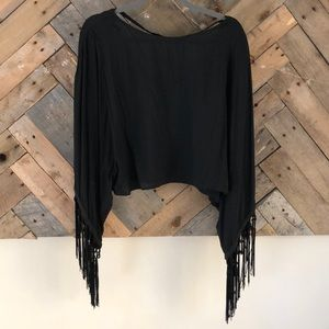 Black Cropped Fringe Sleeve Shirt, Haute Society